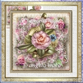 pink camelia 7x7 card with decoupage
