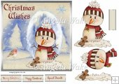 Snowman and robin 7x7 card with decoupage