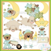 Sweet Dreams Boy Bears Clip Art