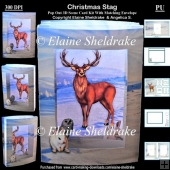 Christmas Stag 3D Concertina Scenic Box Card Kit & Envelope