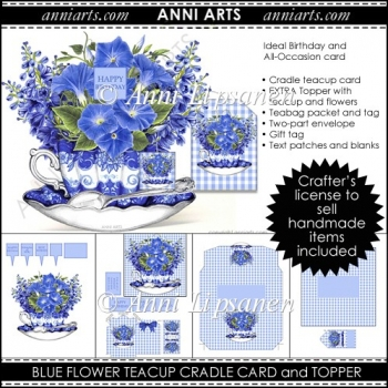 Blue Flower Teacup Card