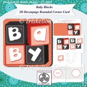 Baby Blocks 3D Decoupage Rounded Corner Card New Baby