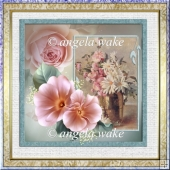Vase of summer flowers 7x7 card with decoupage