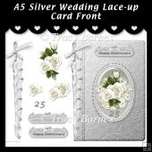 A5 Silver Wedding Lace-up Card Front