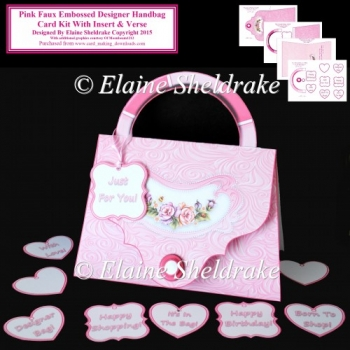 Pink Faux Embossed Designer Handbag Card Kit With Insert & Verse