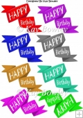 "Funky Twisted ""Happy Birthday"" Banners/tags in white font"