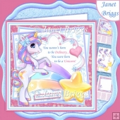 BORN TO BE A UNICORN 7.5 Decoupage & Insert Card Kit