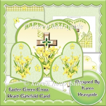 Easter Green Cross Heart Wrap Around Gatefold Card