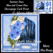Summer Days Blue and Cream Posy Decoupage Card Front