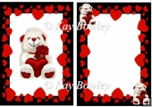 lovely white bear with red heart and rose in frame A5 Insert