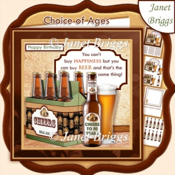 YOU CAN BUY BEER Humorous 7.5 Decoupage & Insert Kit with ages