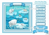 Xmas Polar Bear Hugs - Square Card Topper With Greetings Tags
