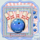 Bowling Have a Ball on Your Birthday 7.5 Decoupage Kit