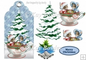cute little mice in a teacup with christmas tree on a tag