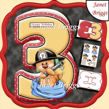 Age 3 Shaped Card Insert & Optional Fireman Ted Decoupage Kit