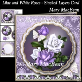 Lilac and White Roses - Stacked Layers Card