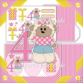 Birthday Girl Age 4 Cameo Tri Shutter Card Kit