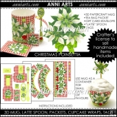 Christmas Poinsettias 3D Mug and Cupcake Gift Set
