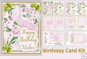 Peony Birthday Card wit decoupage, inserts and envelope