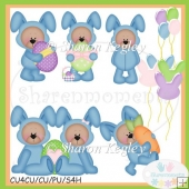 Easter Bear Bunny Blue 2 Clip Art