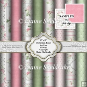 8 x 8 Christmas Roses Backing Papers - Set Two Floral For Cards