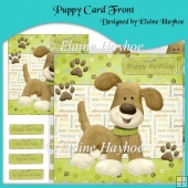 Puppy Card Front with Decoupage