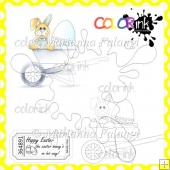 Easter Bunny on His Way and Sentiment Digital Stamps