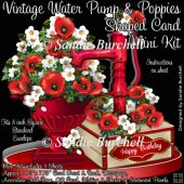 Vintage Water Pump & Poppies Shaped Card Mini Kit