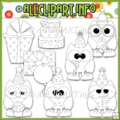 Birthday Party Owls Commercial Use Digital Stamps