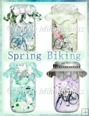 Spring Biking Trail Mason Jar Embellishment Set for Cards, Tags