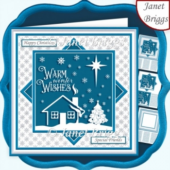 CHRISTMAS MONOTONE WINTER WISHES 7.5 Quick Layer Card & Insert