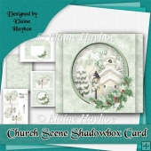 Christmas Church Scene Shadowbox Card