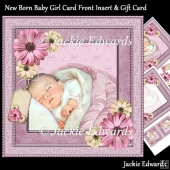 New Born Baby Girl Card Front Insert & Gift Card