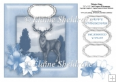 Winter Stag - 7.5 x 7.5 Card Topper Fits 8 x 8 Cards Comfortably