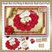 Heart Box And Ring In Red And Gold Card Front