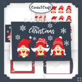 3 Christmas Gnomes Landscape card set