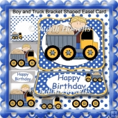 Boy and Truck Bracket Shaped Easel Card