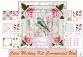 Birds and Roses Card. Various Tags plus decoupage and insert