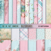 Vintage Shabby Grunge pink blue background paper 12 inch