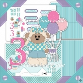 Birthday Girl Age 3 Octogon Tri Shutter Card Kit