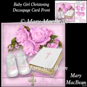 Baby Girl Christening Decoupage Card Front