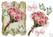 pretty pink roses bouquet on vintage frame with butterflies