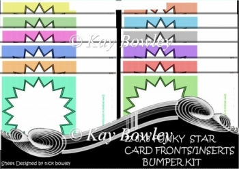 12 8X8 Funky star card fronts/inserts bumper kit
