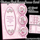 Vintage Pink Roses Cameo Card