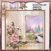 summer river card with decoupage