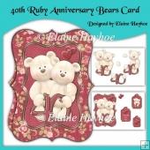 40th Ruby Anniversary Bears Card