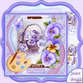 Artist's Canvas Pansies 7.5 Decoupage Kit