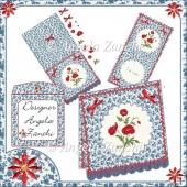 RED FLOWER SCALLOPED EDGE 6X6 CARD