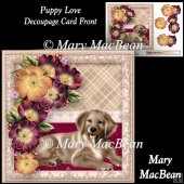 Puppy Love Decoupage Card Front