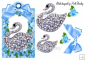 blue roses with bow & diamond swan on a tag